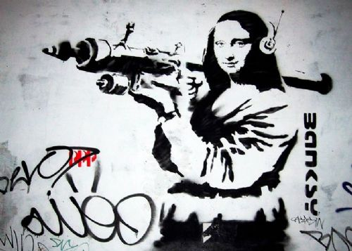 BANKSY - MONA LISA ROCKET LAUNCHER canvas print - self adhesive poster - photo print